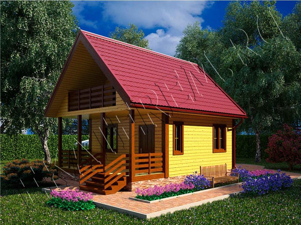 Дом 6х6 из бруса с мансардой 170