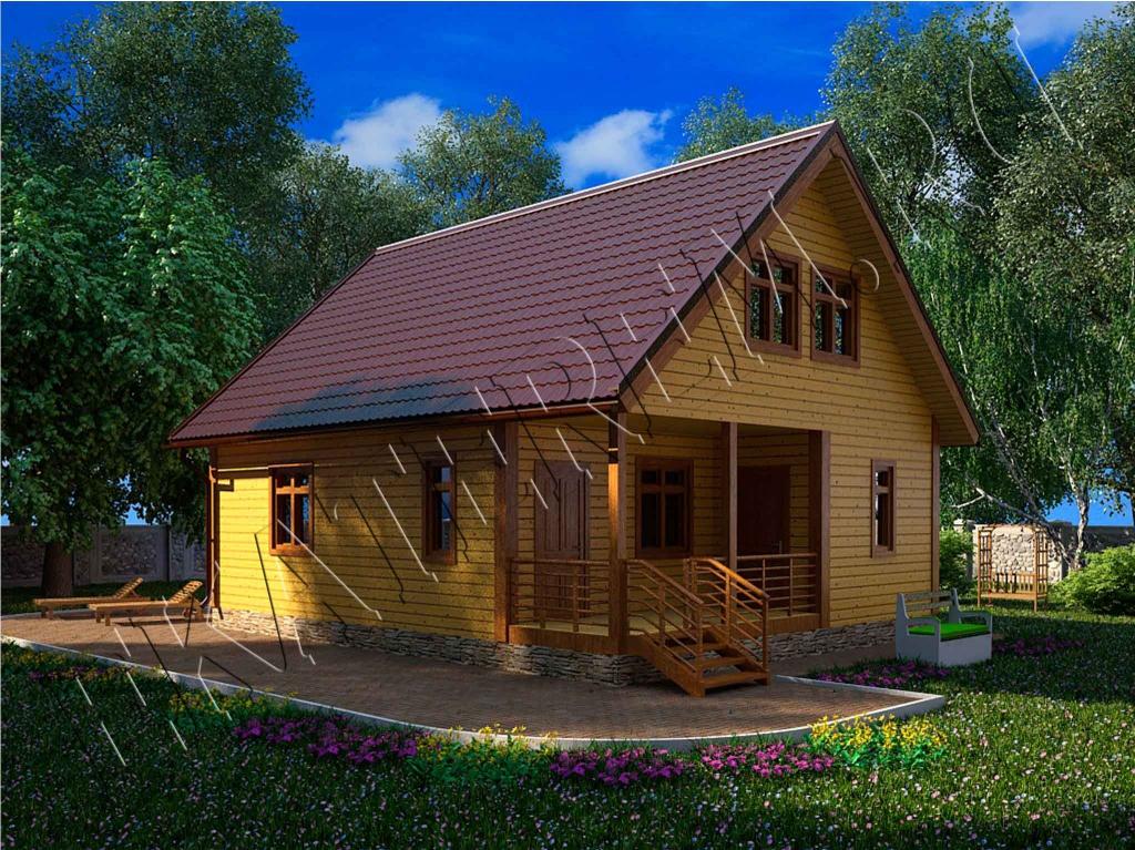 Фото брусовых домов с мансардой 105