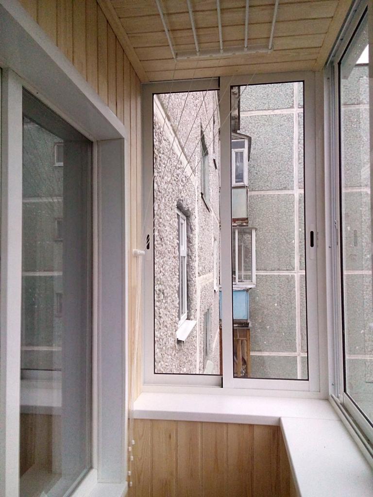 Остекление г-образного балкона 3,2х1,6х0,8 алюмин.профилем p.