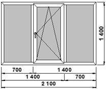 Окно 3-х створчатое 3 камерное rehau blitz 2100х1400 мм, с м.